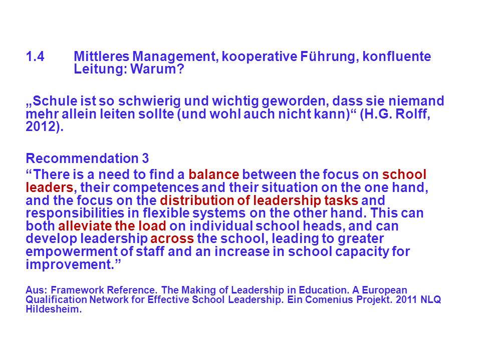 1.4Mittleres Management, kooperative Führung, konfluente Leitung: Warum? Schule ist so schwierig und wichtig geworden, dass sie niemand mehr allein le