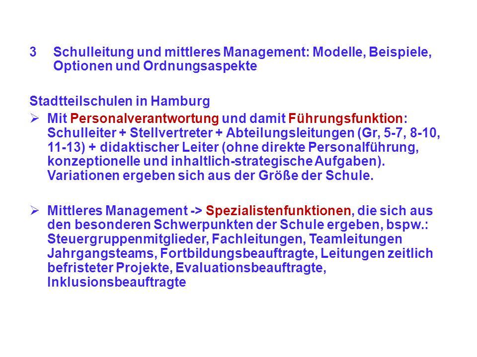 3Schulleitung und mittleres Management: Modelle, Beispiele, Optionen und Ordnungsaspekte Stadtteilschulen in Hamburg Mit Personalverantwortung und dam