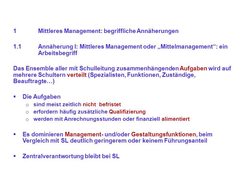 1Mittleres Management: begriffliche Annäherungen 1.1Annäherung I: Mittleres Management oder Mittelmanagement: ein Arbeitsbegriff Das Ensemble aller mi