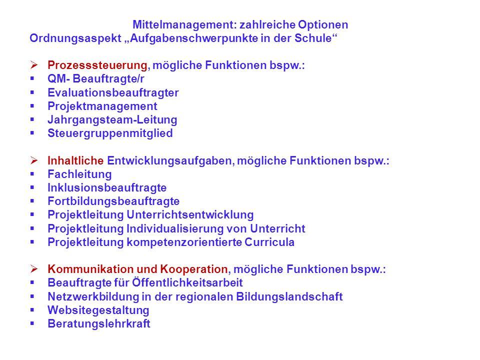 Mittelmanagement: zahlreiche Optionen Ordnungsaspekt Aufgabenschwerpunkte in der Schule Prozesssteuerung, mögliche Funktionen bspw.: QM- Beauftragte/r