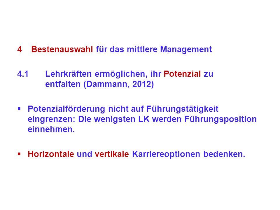 4Bestenauswahl für das mittlere Management 4.1Lehrkräften ermöglichen, ihr Potenzial zu entfalten (Dammann, 2012) Potenzialförderung nicht auf Führung