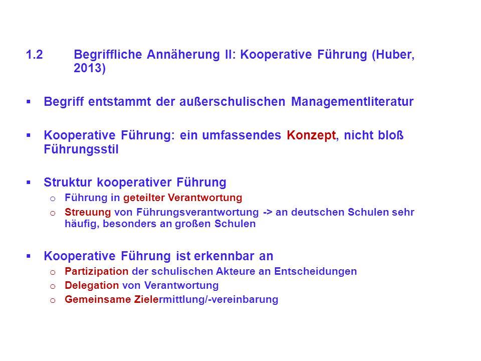 1.2Begriffliche Annäherung II: Kooperative Führung (Huber, 2013) Begriff entstammt der außerschulischen Managementliteratur Kooperative Führung: ein u