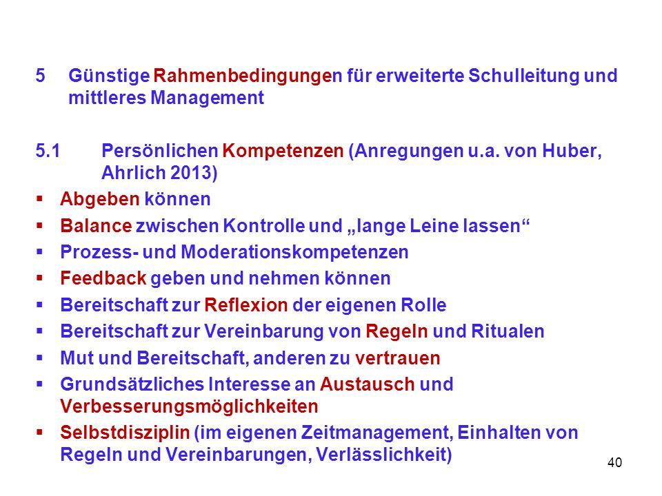 5Günstige Rahmenbedingungen für erweiterte Schulleitung und mittleres Management 5.1Persönlichen Kompetenzen (Anregungen u.a. von Huber, Ahrlich 2013)