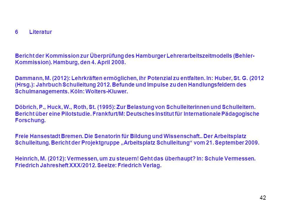 6Literatur Bericht der Kommission zur Überprüfung des Hamburger Lehrerarbeitszeitmodells (Behler- Kommission). Hamburg, den 4. April 2008. Dammann, M.