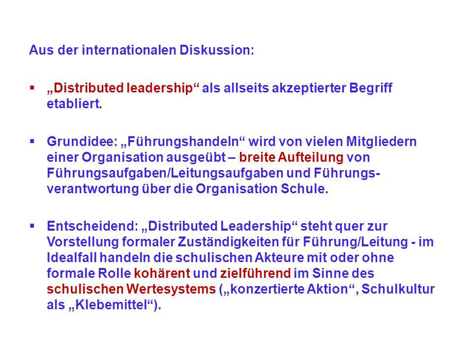 Aus der internationalen Diskussion: Distributed leadership als allseits akzeptierter Begriff etabliert. Grundidee: Führungshandeln wird von vielen Mit