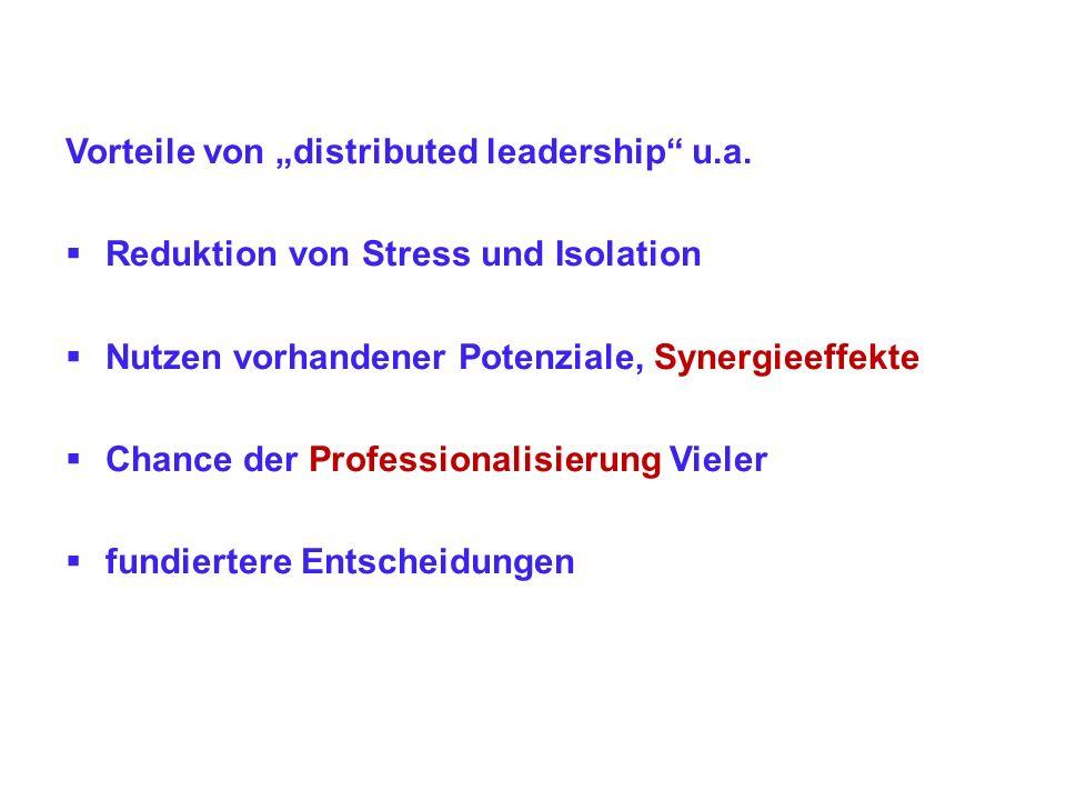 Vorteile von distributed leadership u.a. Reduktion von Stress und Isolation Nutzen vorhandener Potenziale, Synergieeffekte Chance der Professionalisie