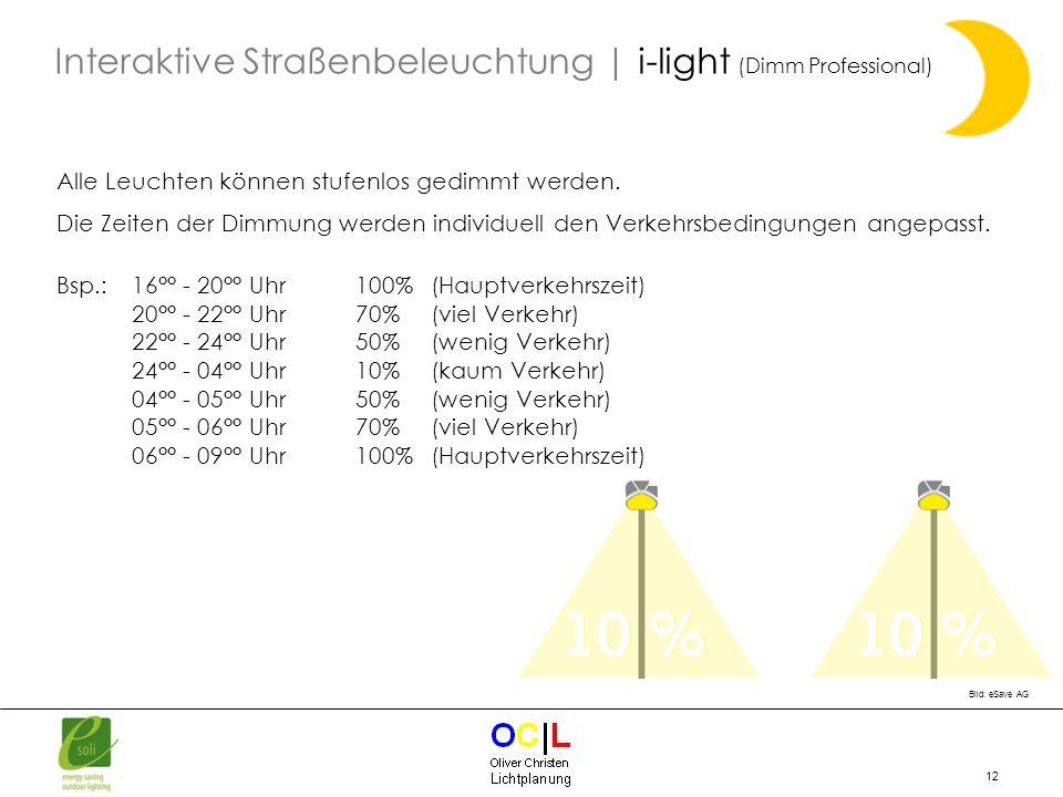 12 Alle Leuchten können stufenlos gedimmt werden. Die Zeiten der Dimmung werden individuell den Verkehrsbedingungen angepasst. Bsp.: 16°° - 20°° Uhr 1
