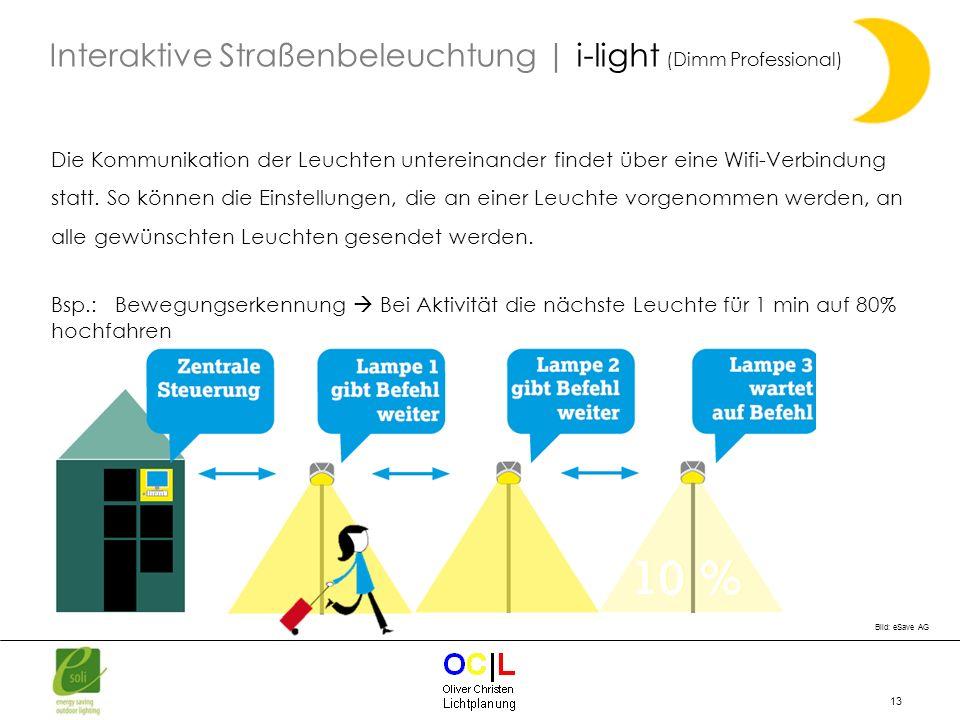 13 Die Kommunikation der Leuchten untereinander findet über eine Wifi-Verbindung statt. So können die Einstellungen, die an einer Leuchte vorgenommen