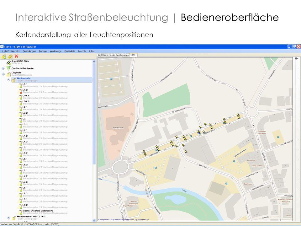 17 Kartendarstellung aller Leuchtenpositionen Interaktive Straßenbeleuchtung | Bedieneroberfläche