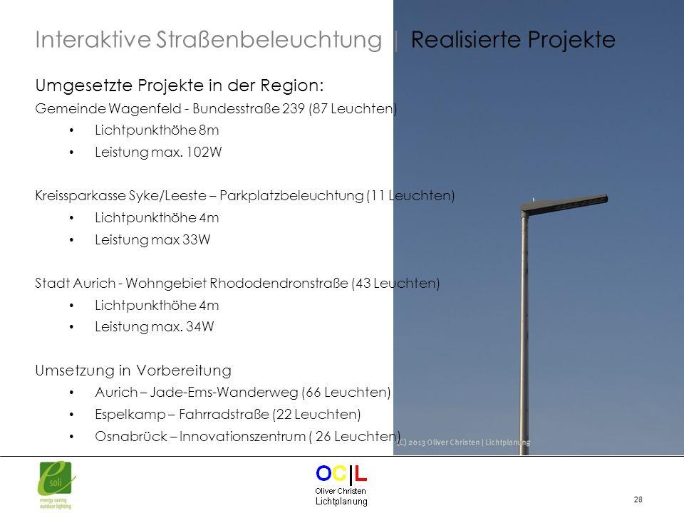 28 Umgesetzte Projekte in der Region: Gemeinde Wagenfeld - Bundesstraße 239 (87 Leuchten) Lichtpunkthöhe 8m Leistung max. 102W Kreissparkasse Syke/Lee
