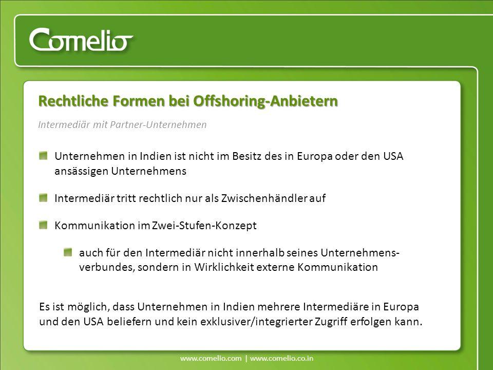 www.comelio.com | www.comelio.co.in Rechtliche Formen bei Offshoring-Anbietern Unternehmen in Indien ist nicht im Besitz des in Europa oder den USA an
