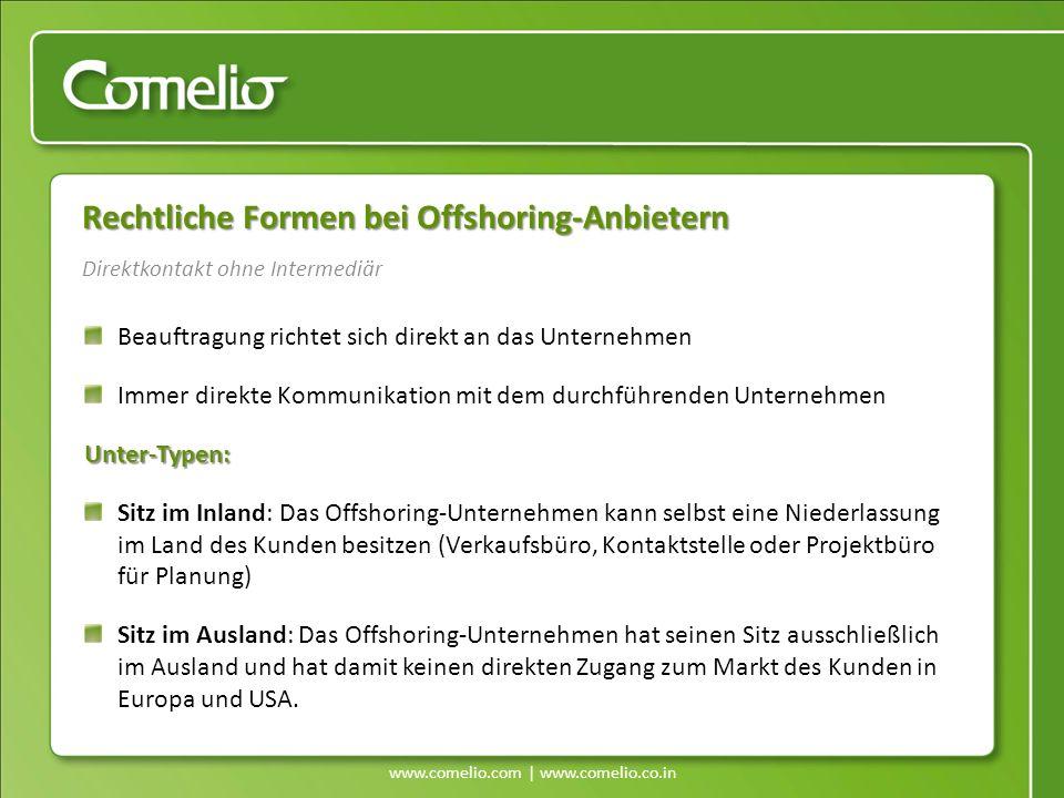www.comelio.com | www.comelio.co.in Rechtliche Formen bei Offshoring-Anbietern Beauftragung richtet sich direkt an das Unternehmen Immer direkte Kommu
