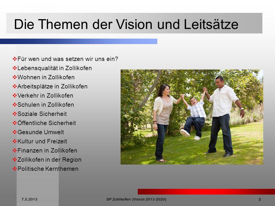 7.5.2013SP Zollikofen (Vision 2013-2020)2 Die Themen der Vision und Leitsätze Für wen und was setzen wir uns ein.