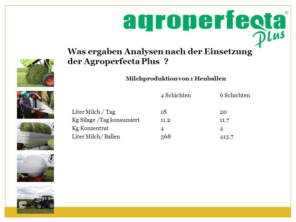 Was ergaben Analysen nach der Einsetzung der Agroperfecta Plus ? Milchproduktion von 1 Heuballen 4 Schichten 6 Schichten Liter Milch / Tag 1820 Kg Sil