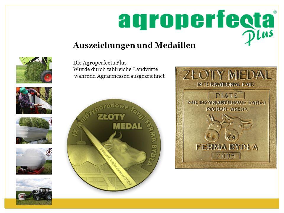 Auszeichungen und Medaillen Die Agroperfecta Plus Wurde durch zahlreiche Landwirte während Agrarmessen ausgezeichnet
