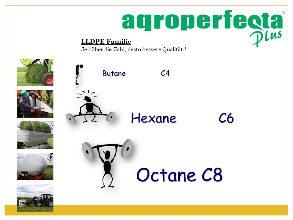 LLDPE Familie Je höher die Zahl, desto bessere Qualität ! Butane C4 Hexane C6 Octane C8