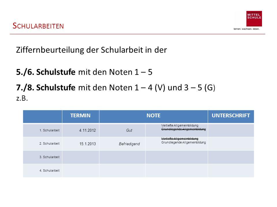 S CHULARBEITEN Ziffernbeurteilung der Schularbeit in der 5./6. Schulstufe mit den Noten 1 – 5 7./8. Schulstufe mit den Noten 1 – 4 (V) und 3 – 5 (G )