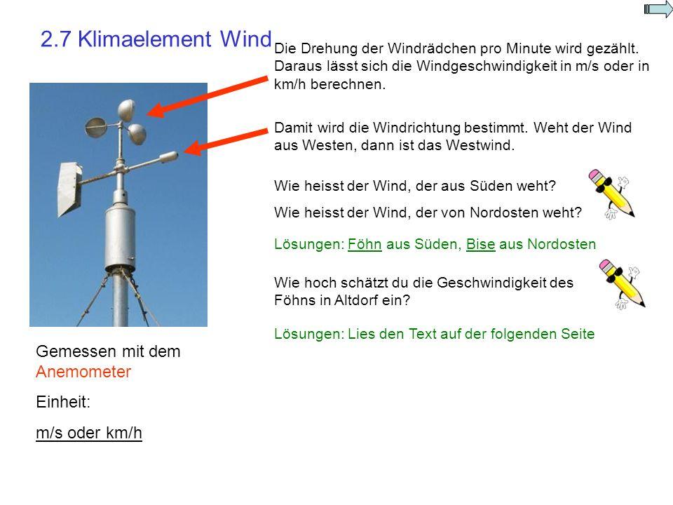 2.7 Klimaelement Wind Gemessen mit dem Anemometer Einheit: m/s oder km/h Die Drehung der Windrädchen pro Minute wird gezählt. Daraus lässt sich die Wi