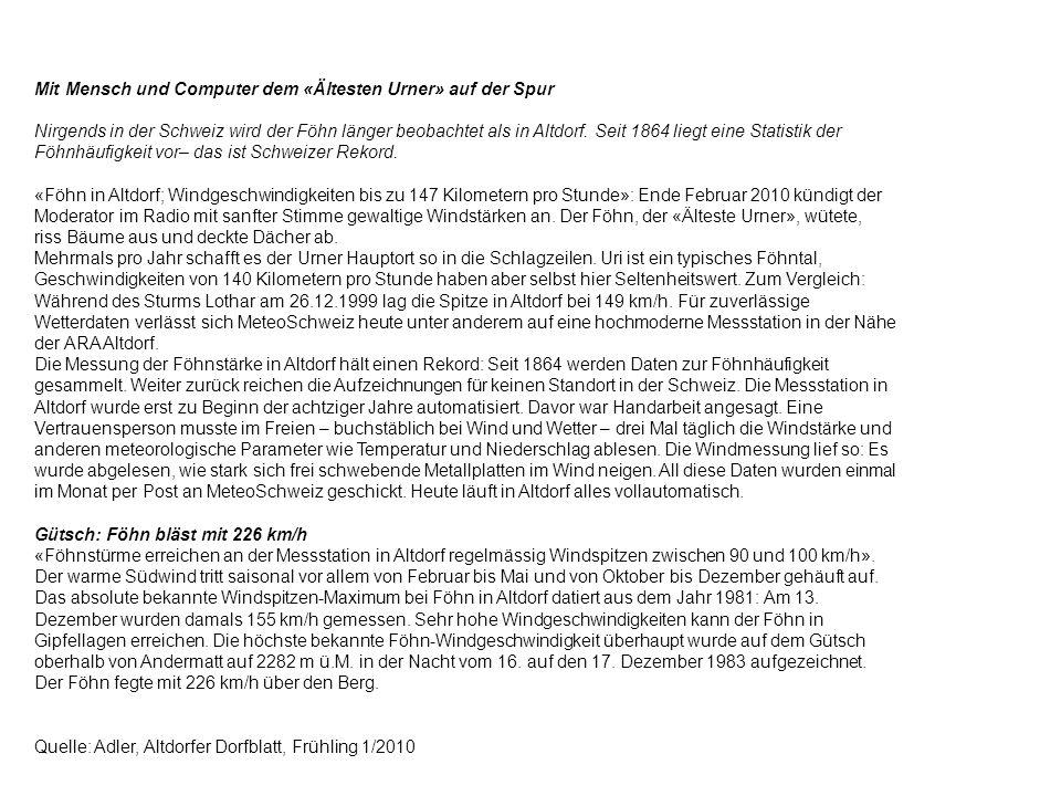 Mit Mensch und Computer dem «Ältesten Urner» auf der Spur Nirgends in der Schweiz wird der Föhn länger beobachtet als in Altdorf. Seit 1864 liegt eine