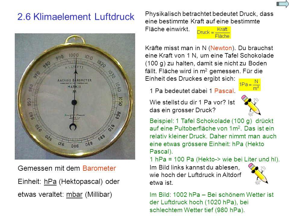 2.7 Klimaelement Wind Gemessen mit dem Anemometer Einheit: m/s oder km/h Die Drehung der Windrädchen pro Minute wird gezählt.