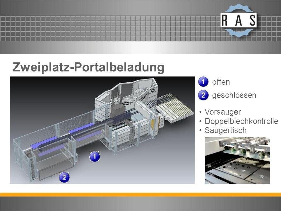 Zweiplatz-Portalbeladung offen geschlossen Vorsauger Doppelblechkontrolle Saugertisch