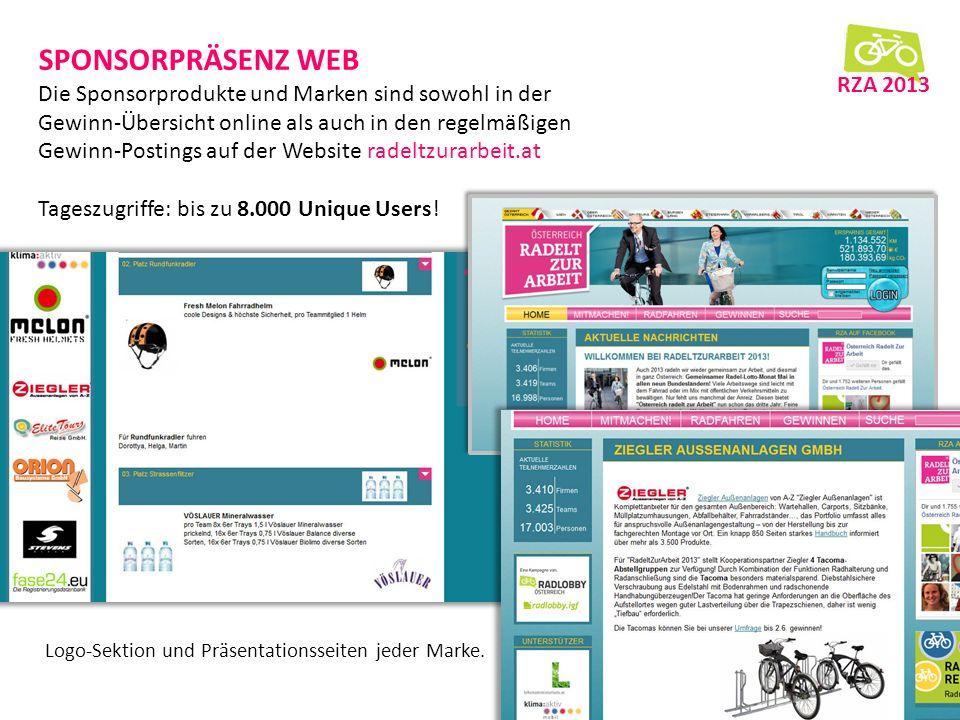 SPONSORPRÄSENZ WEB Die Sponsorprodukte und Marken sind sowohl in der Gewinn-Übersicht online als auch in den regelmäßigen Gewinn-Postings auf der Website radeltzurarbeit.at Tageszugriffe: bis zu 8.000 Unique Users.