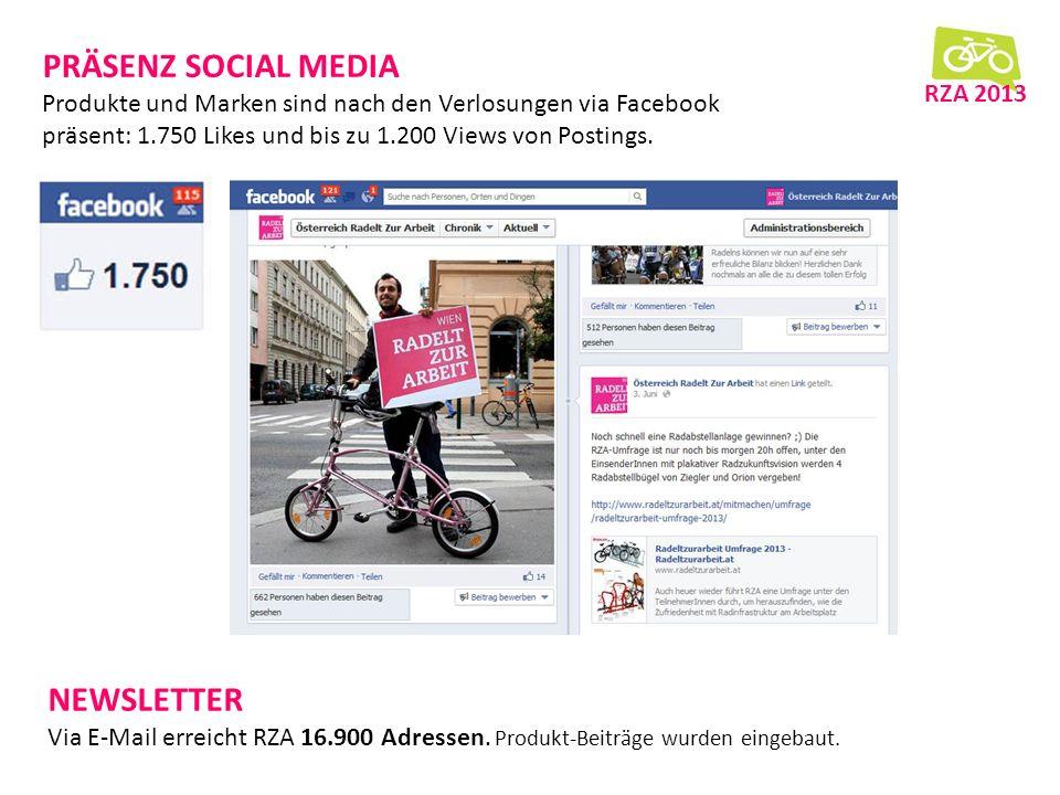 PRÄSENZ SOCIAL MEDIA Produkte und Marken sind nach den Verlosungen via Facebook präsent: 1.750 Likes und bis zu 1.200 Views von Postings.