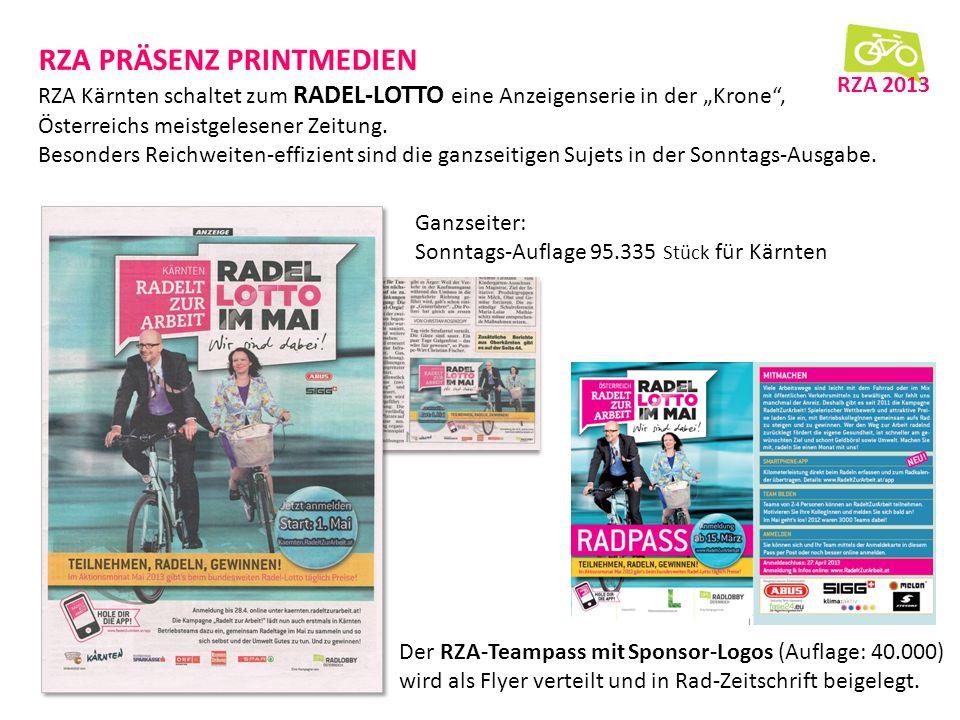 RZA PRÄSENZ PRINTMEDIEN RZA Kärnten schaltet zum RADEL-LOTTO eine Anzeigenserie in der Krone, Österreichs meistgelesener Zeitung.