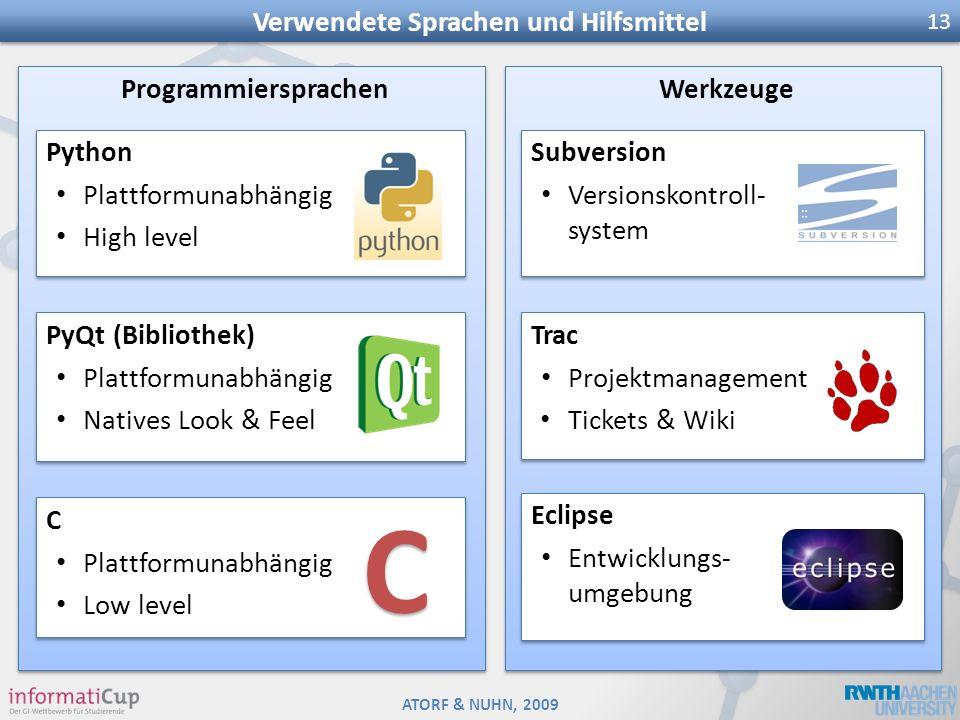 ATORF & NUHN, 2009 Verwendete Sprachen und Hilfsmittel 13 Programmiersprachen PyQt (Bibliothek) Plattformunabhängig Natives Look & Feel PyQt (Biblioth