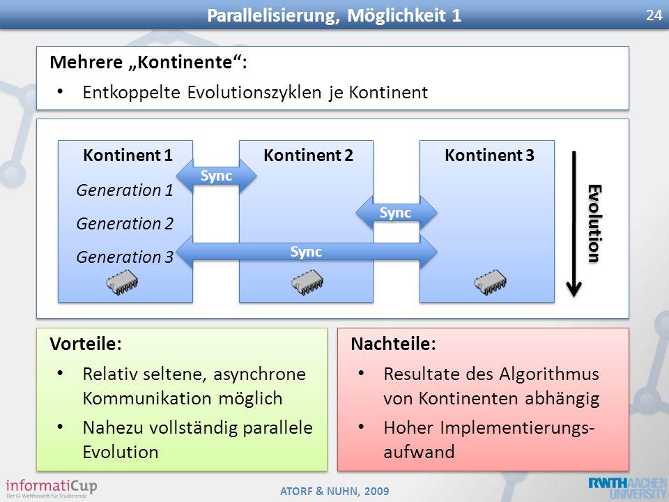 ATORF & NUHN, 2009 Parallelisierung, Möglichkeit 1 24 Mehrere Kontinente: Entkoppelte Evolutionszyklen je Kontinent Mehrere Kontinente: Entkoppelte Ev
