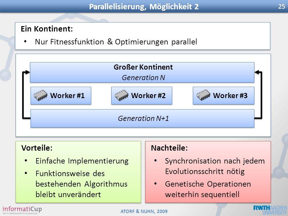 ATORF & NUHN, 2009 Parallelisierung, Möglichkeit 2 25 Großer Kontinent Generation N Großer Kontinent Generation N Worker #1 Worker #2 Worker #3 Genera