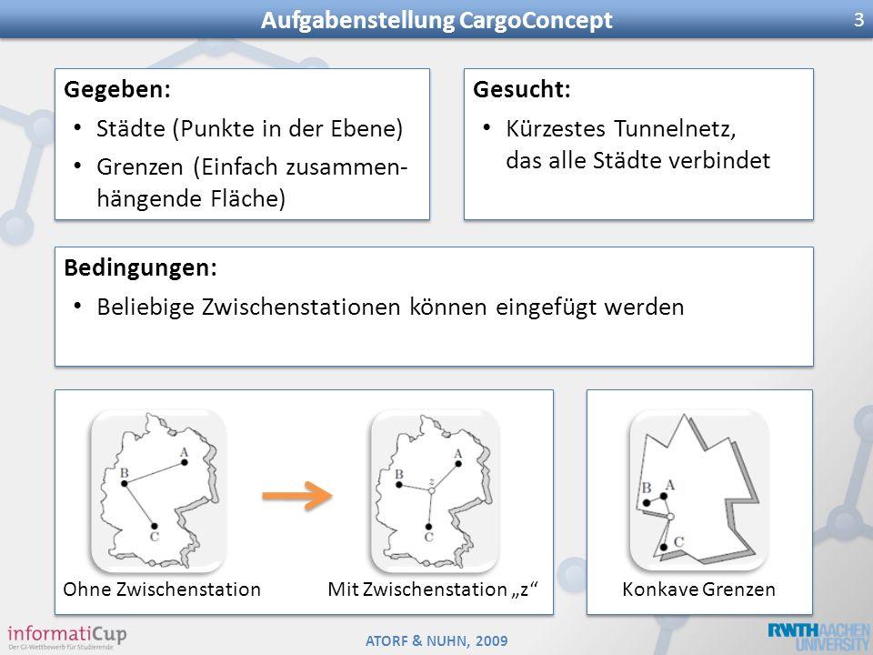ATORF & NUHN, 2009 Aufgabenstellung CargoConcept 3 Gegeben: Städte (Punkte in der Ebene) Grenzen (Einfach zusammen- hängende Fläche) Gegeben: Städte (
