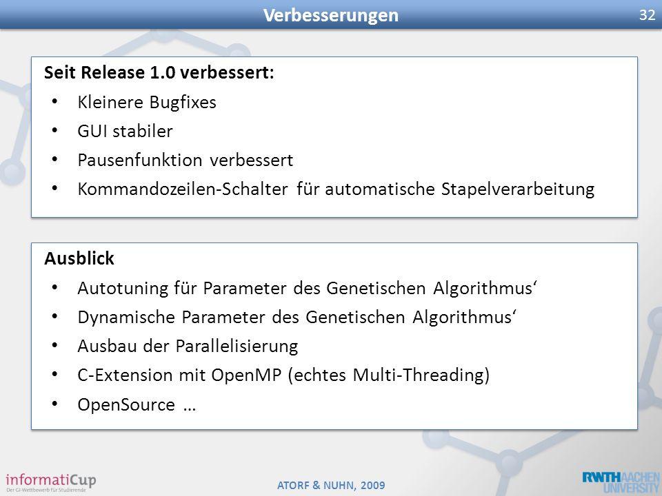 ATORF & NUHN, 2009 Verbesserungen 32 Seit Release 1.0 verbessert: Kleinere Bugfixes GUI stabiler Pausenfunktion verbessert Kommandozeilen-Schalter für