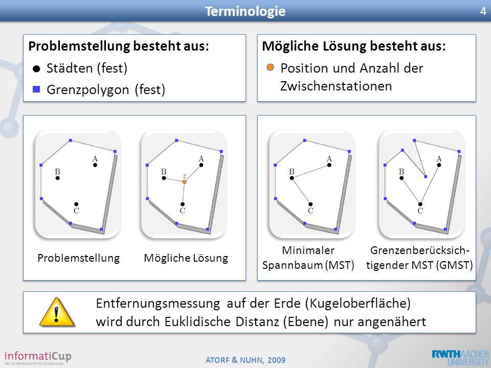 ATORF & NUHN, 2009 Terminologie 4 Problemstellung besteht aus: Städten (fest) Grenzpolygon (fest) Problemstellung besteht aus: Städten (fest) Grenzpol