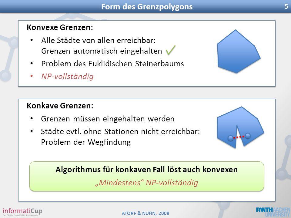 ATORF & NUHN, 2009 Form des Grenzpolygons 5 Konvexe Grenzen: Alle Städte von allen erreichbar: Grenzen automatisch eingehalten Problem des Euklidische