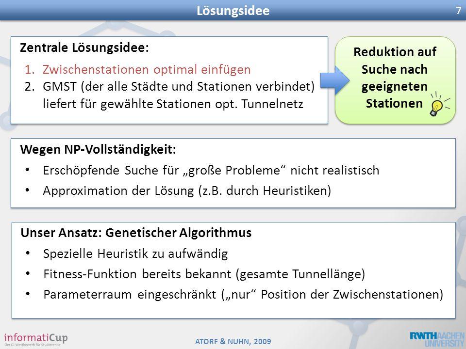ATORF & NUHN, 2009 Lösungsidee 7 Reduktion auf Suche nach geeigneten Stationen Zentrale Lösungsidee: 1.Zwischenstationen optimal einfügen 2.GMST (der