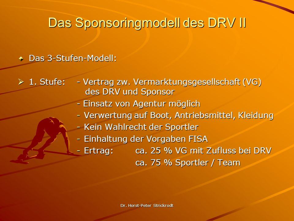 Dr. Horst-Peter Strickrodt Das Sponsoringmodell des DRV II Das 3-Stufen-Modell: 1. Stufe: - Vertrag zw. Vermarktungsgesellschaft (VG) des DRV und Spon