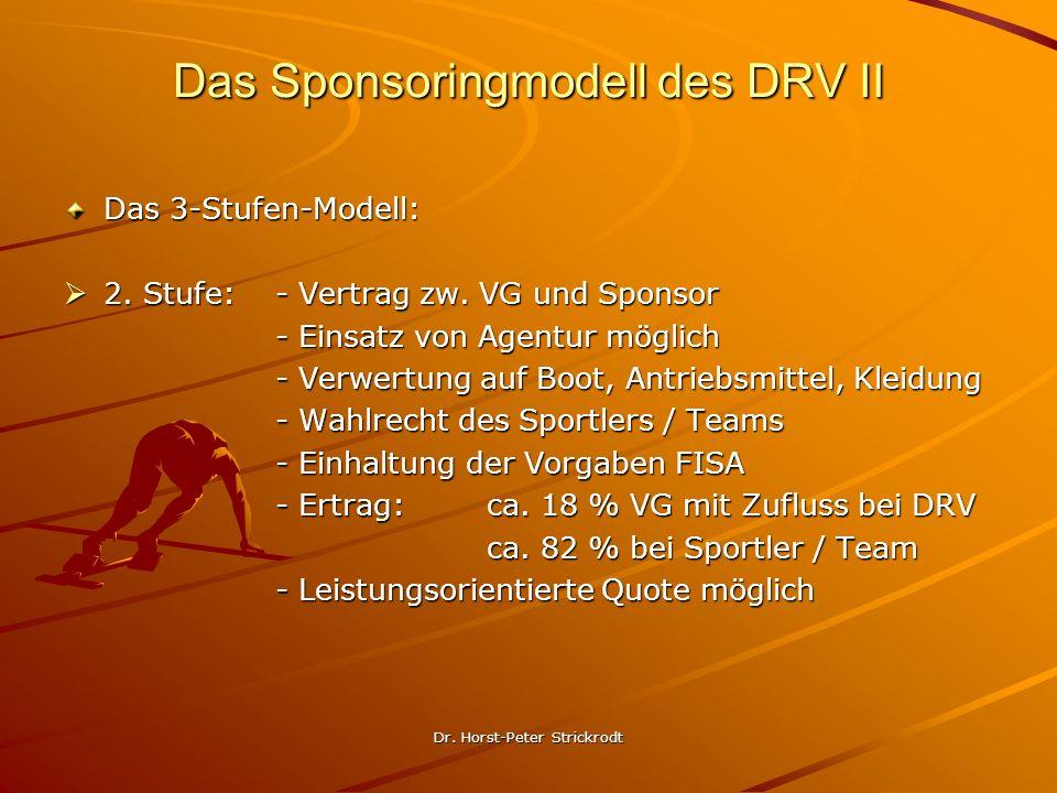 Dr. Horst-Peter Strickrodt Das Sponsoringmodell des DRV II Das 3-Stufen-Modell: 2. Stufe: - Vertrag zw. VG und Sponsor 2. Stufe: - Vertrag zw. VG und