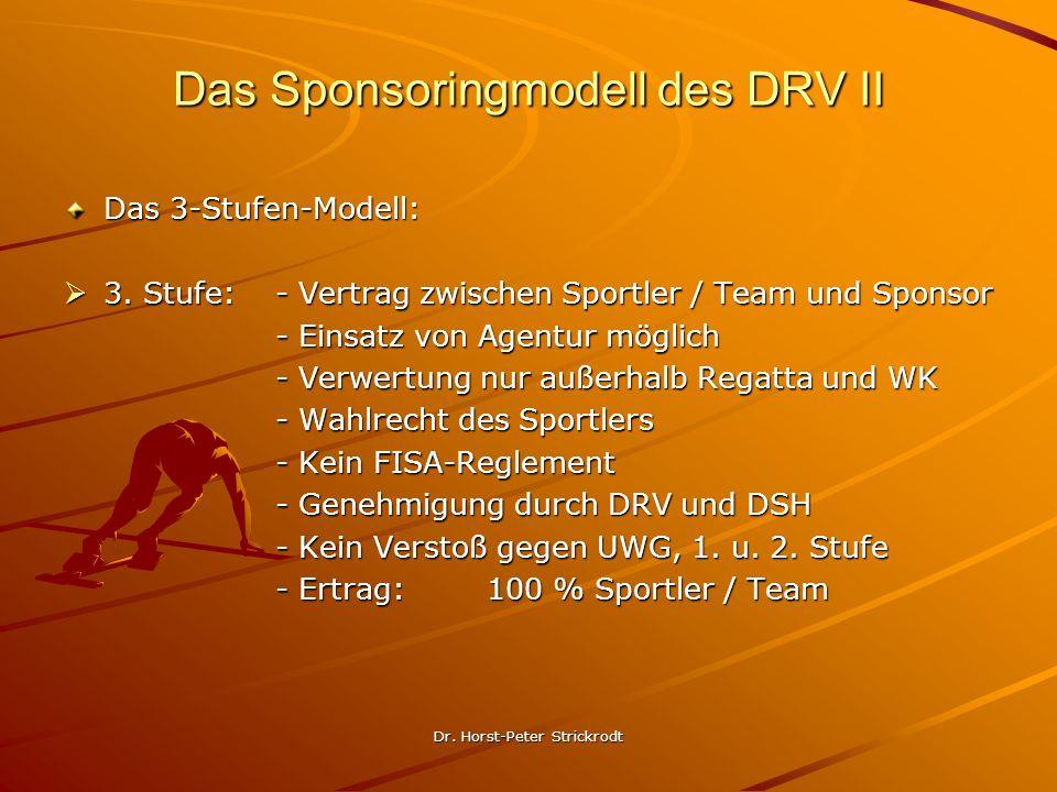 Dr. Horst-Peter Strickrodt Das Sponsoringmodell des DRV II Das 3-Stufen-Modell: 3. Stufe:- Vertrag zwischen Sportler / Team und Sponsor 3. Stufe:- Ver