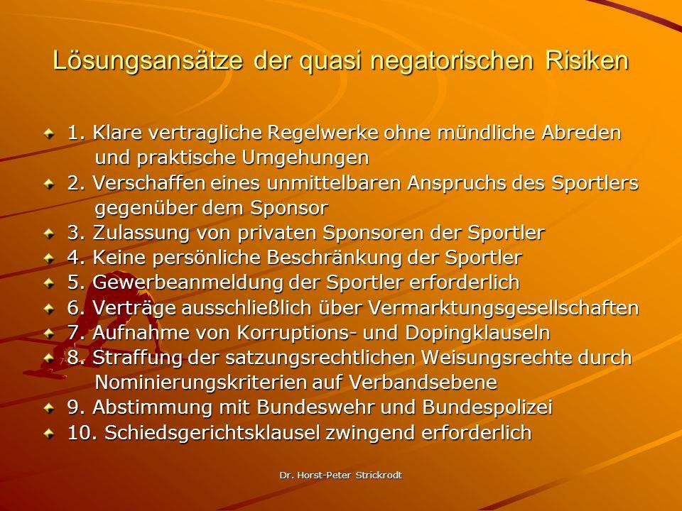 Dr.Horst-Peter Strickrodt Lösungsansätze der quasi negatorischen Risiken 1.