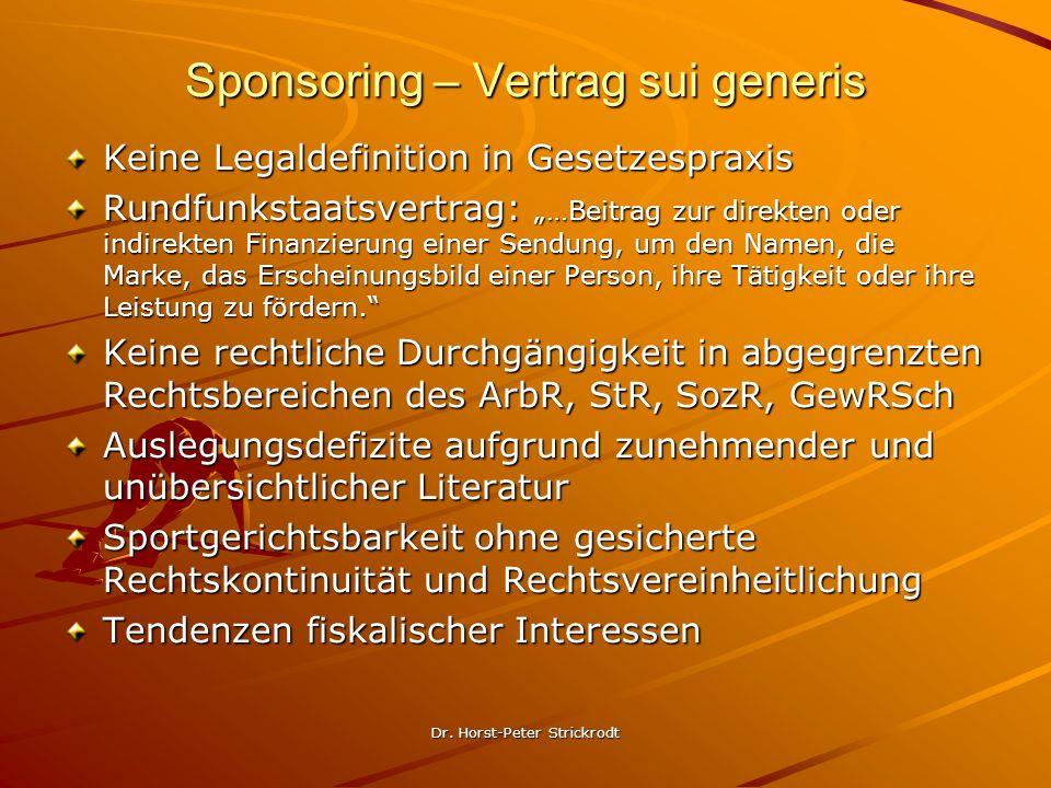 Dr. Horst-Peter Strickrodt Sponsoring – Vertrag sui generis Keine Legaldefinition in Gesetzespraxis Rundfunkstaatsvertrag: …Beitrag zur direkten oder