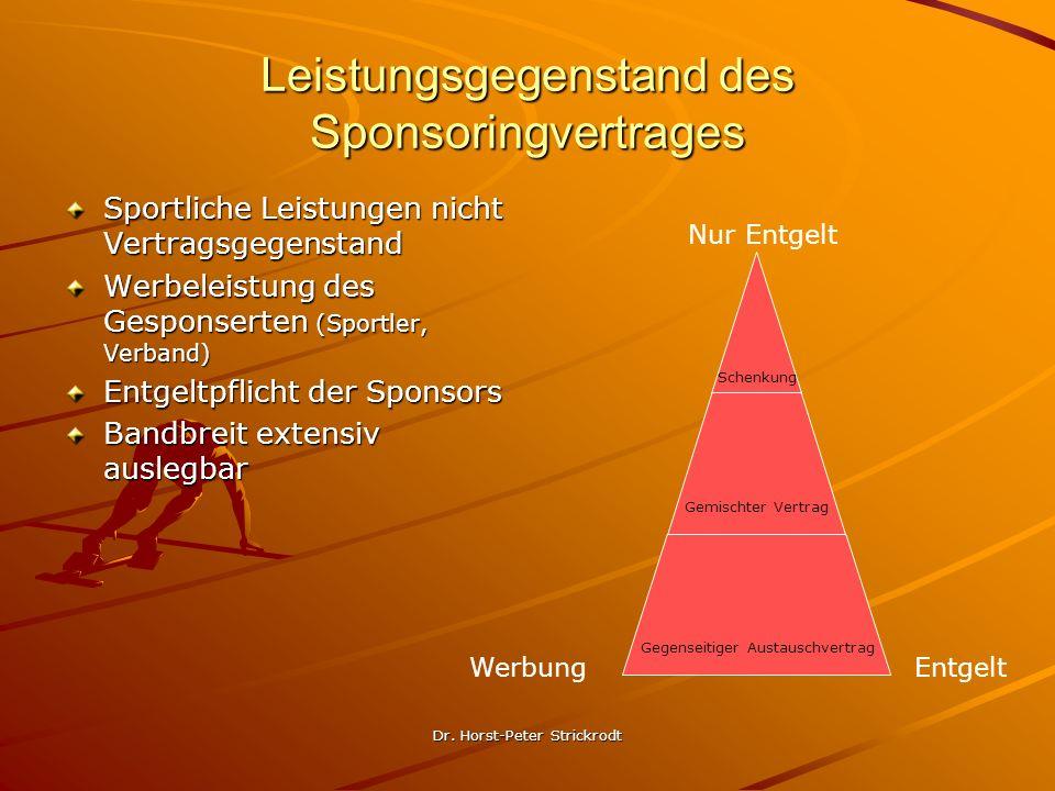 Dr. Horst-Peter Strickrodt Leistungsgegenstand des Sponsoringvertrages Sportliche Leistungen nicht Vertragsgegenstand Werbeleistung des Gesponserten (