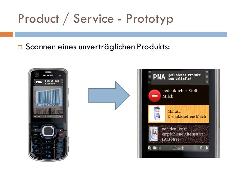 Product / Service - Prototyp Scannen eines unverträglichen Produkts: