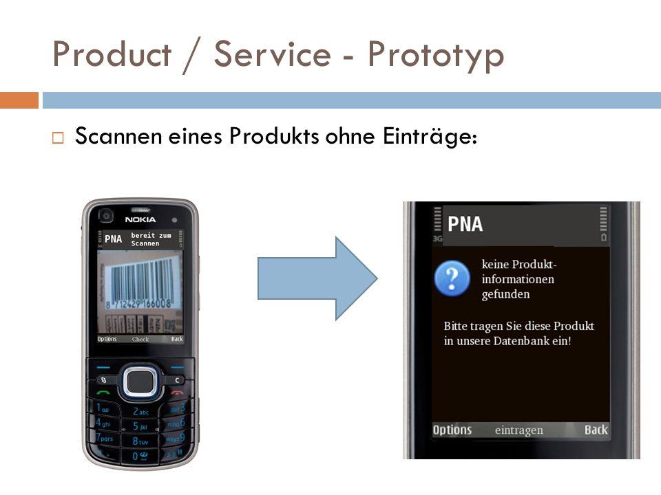 Product / Service - Prototyp Scannen eines Produkts ohne Einträge: