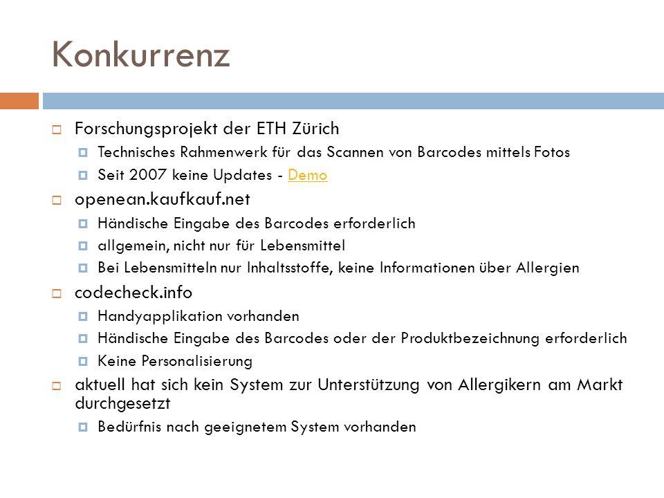 Forschungsprojekt der ETH Zürich Technisches Rahmenwerk für das Scannen von Barcodes mittels Fotos Seit 2007 keine Updates - DemoDemo openean.kaufkauf