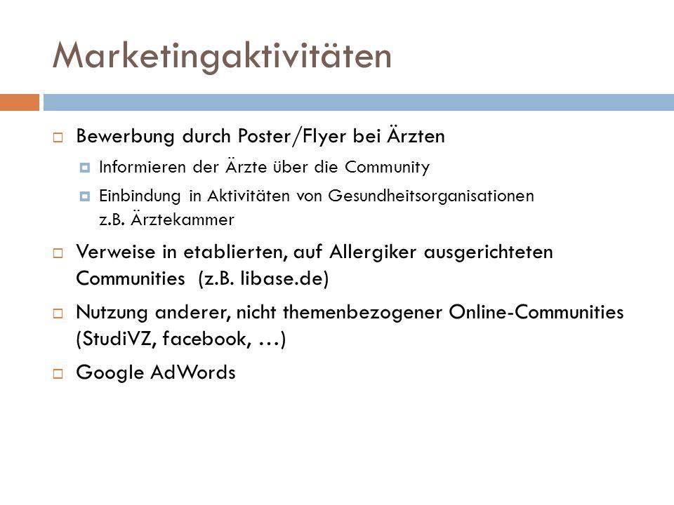Marketingaktivitäten Bewerbung durch Poster/Flyer bei Ärzten Informieren der Ärzte über die Community Einbindung in Aktivitäten von Gesundheitsorganis