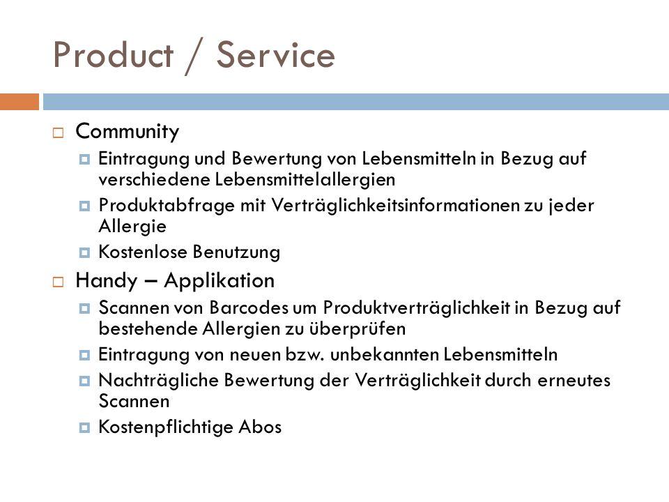 Product / Service Community Eintragung und Bewertung von Lebensmitteln in Bezug auf verschiedene Lebensmittelallergien Produktabfrage mit Verträglichk
