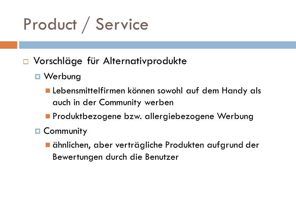 Product / Service Vorschläge für Alternativprodukte Werbung Lebensmittelfirmen können sowohl auf dem Handy als auch in der Community werben Produktbez