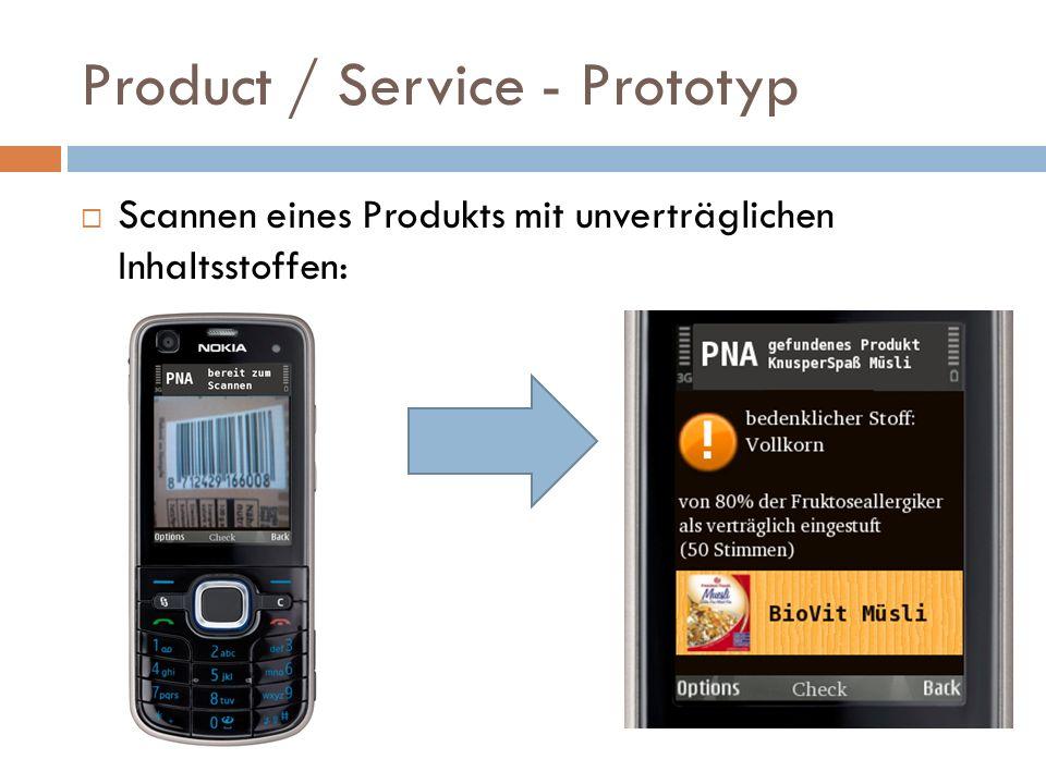 Product / Service - Prototyp Scannen eines Produkts mit unverträglichen Inhaltsstoffen: