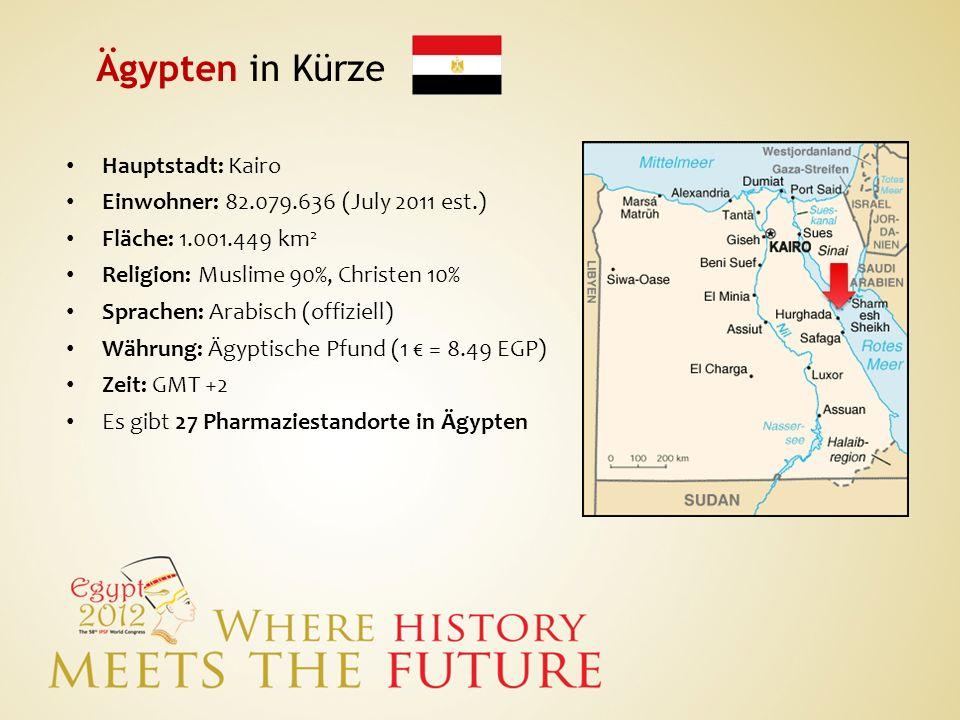 Ägypten in Kürze Hauptstadt: Kairo Einwohner: 82.079.636 (July 2011 est.) Fläche: 1.001.449 km 2 Religion: Muslime 90%, Christen 10% Sprachen: Arabisc